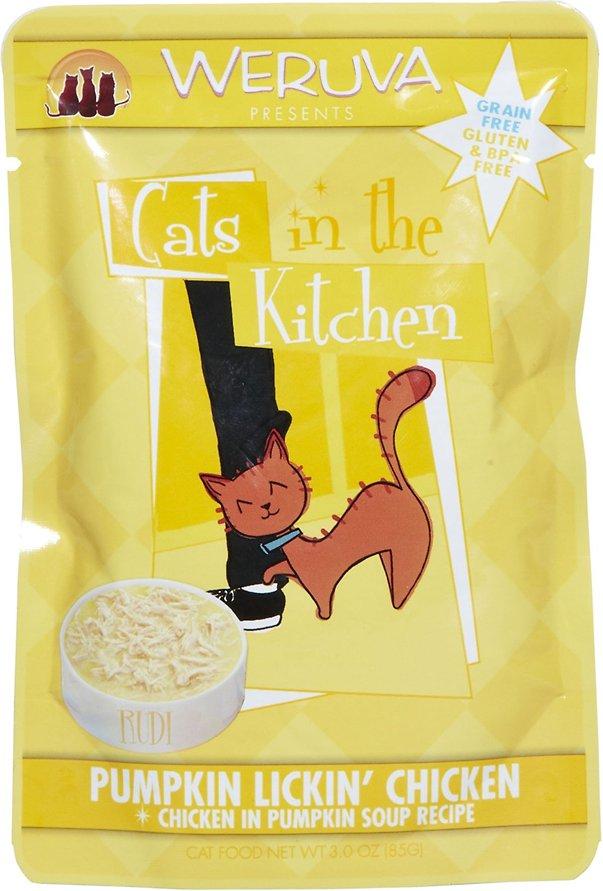 Weruva Cats in the Kitchen 'Pumpkin Lickin' Chicken' in Pumpkin Soup Cat Food Pouches 3z, 8