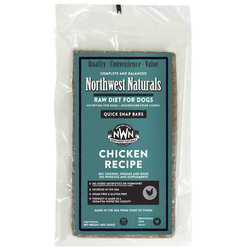 Northwest Naturals Raw Diet Grain-Free Chicken Dinner Bar Raw Frozen Dog Food - BULK 25lbs
