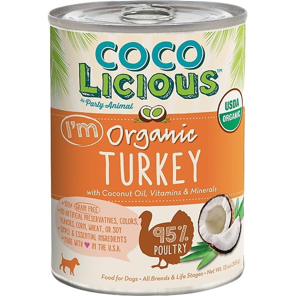 Party Animal Cocolicious Organic Turkey Recipe Grain-Free Canned Dog Food 13z, 12