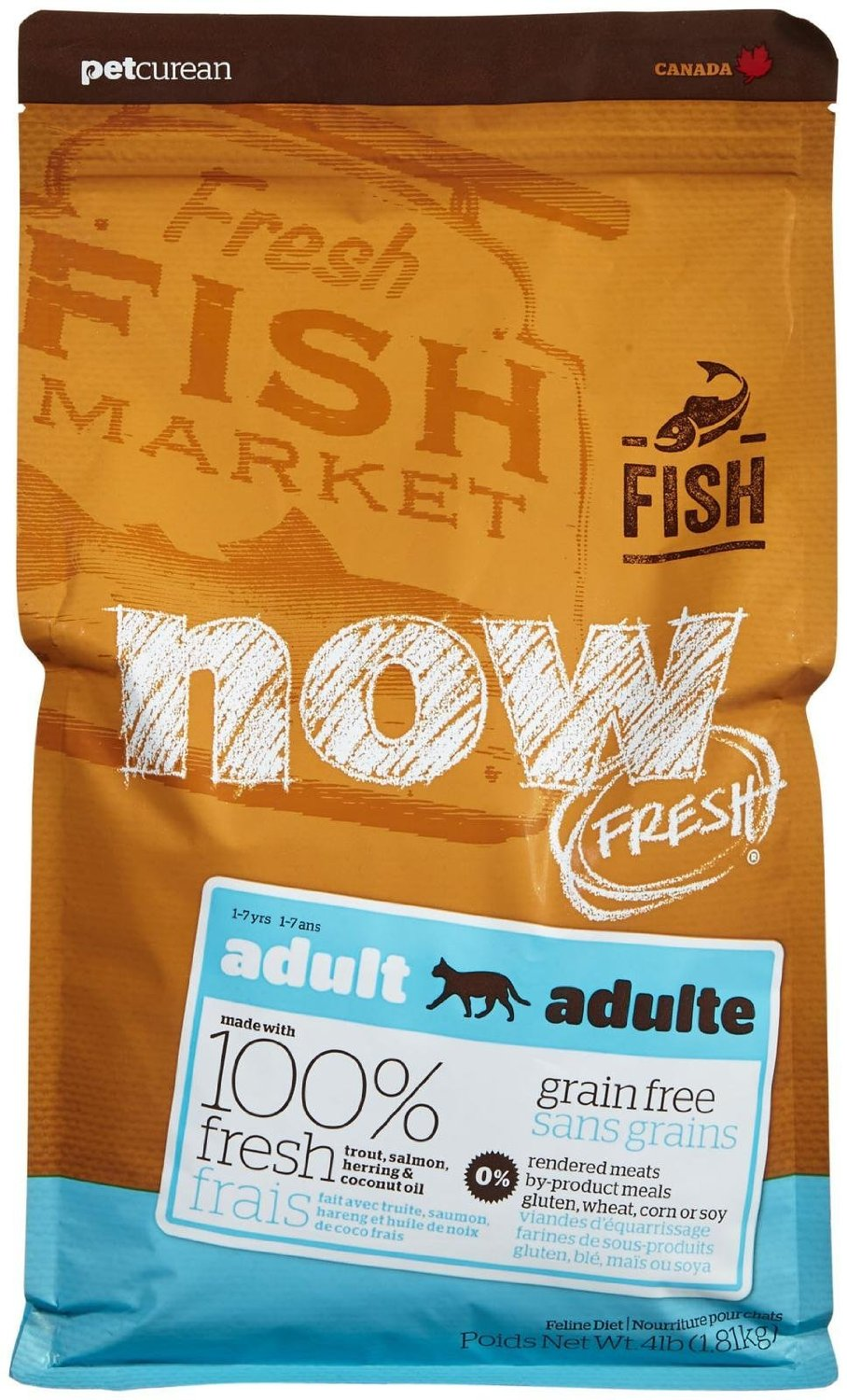 Petcurean Now Fresh Grain-Free Adult Fish Recipe Dry Cat Food 4lbs