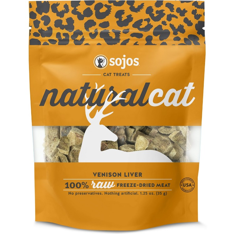 Sojos NaturalCat Venison Liver Freeze-Dried Cat Treats 1.25z