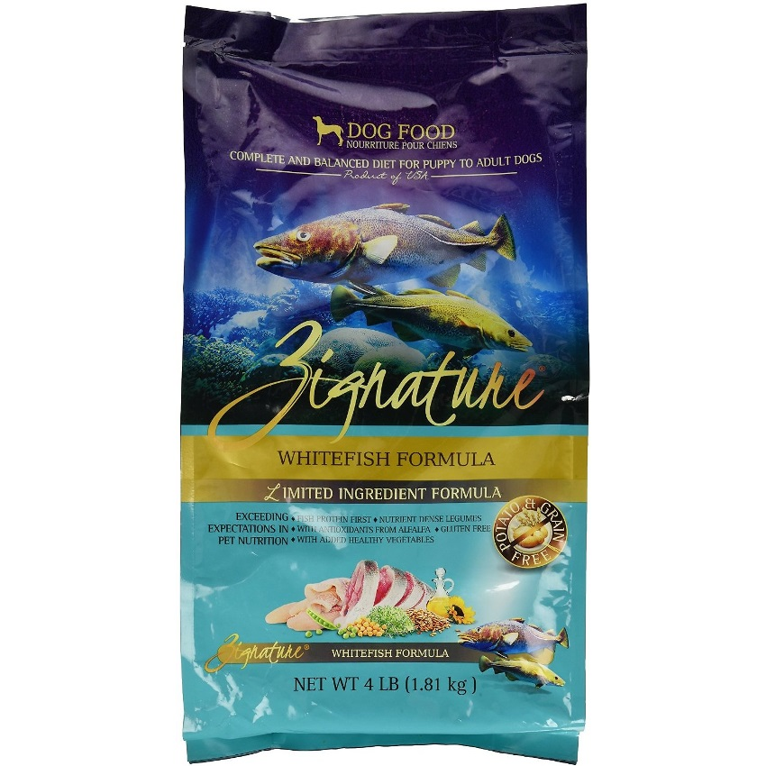Zignature Grain-Free Whitefish Limited Ingredient Formula Dry Dog Food 4lbs