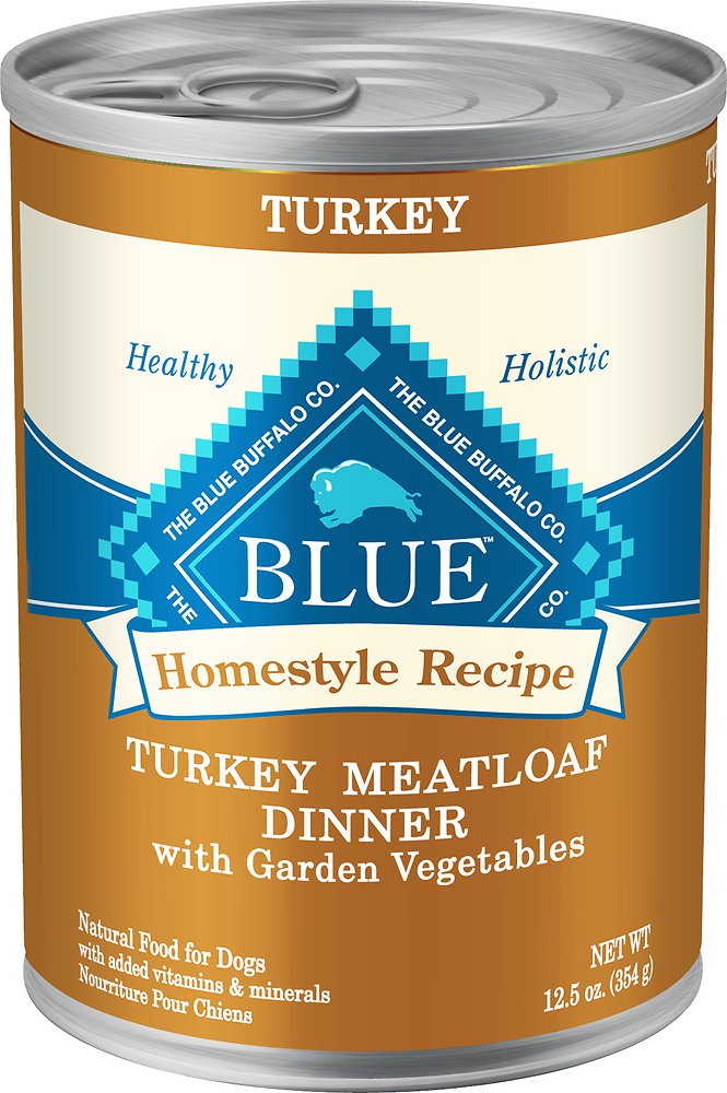 Blue Buffalo Homestyle Recipe Turkey Meatloaf Dinner with Garden Vegetables Canned Dog Food 12.5z, 12