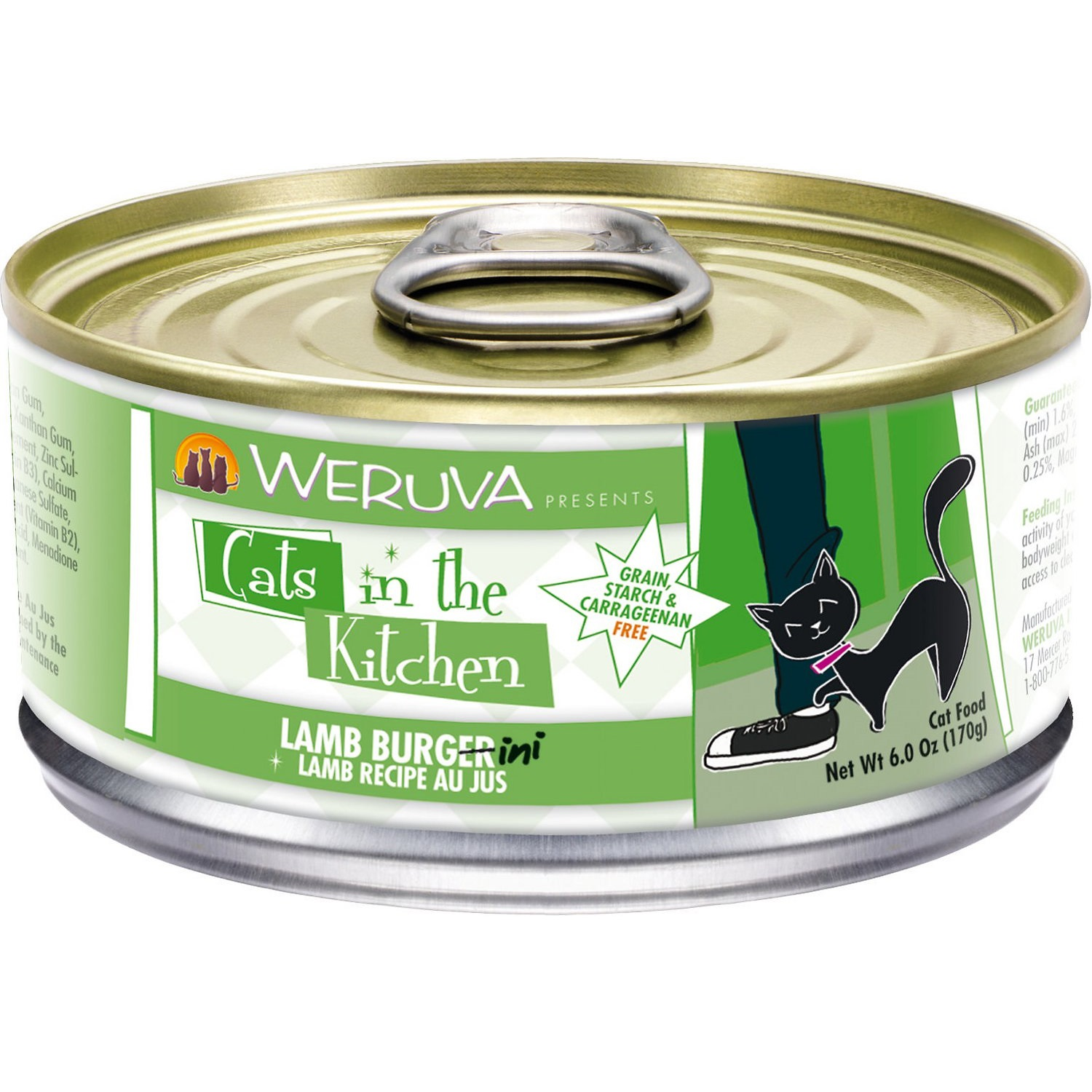 Weruva Cats in the Kitchen Lamb Burgini, Lamb Au Jus Grain-Free Canned Cat Food 6z, 24