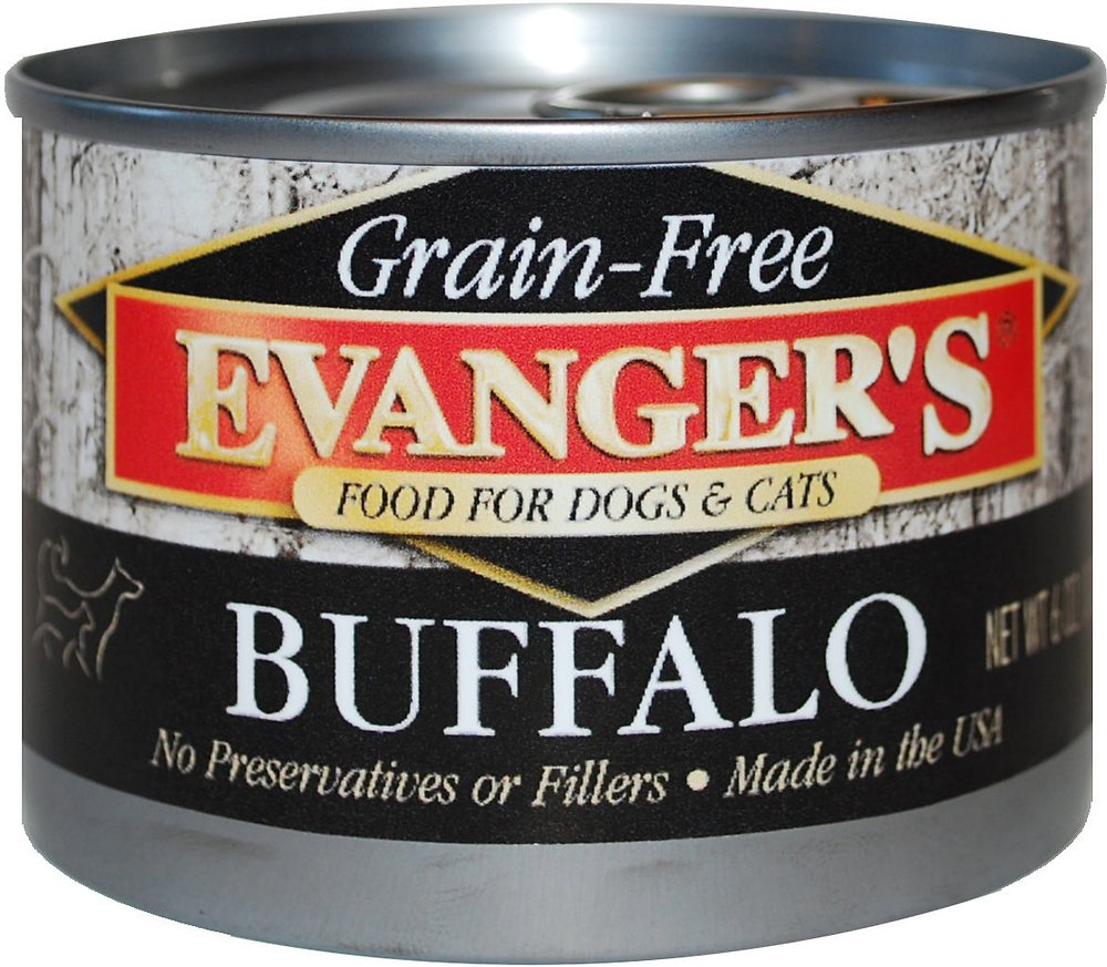 Evanger's Grain-Free Buffalo Canned Dog & Cat Food 6z, 24