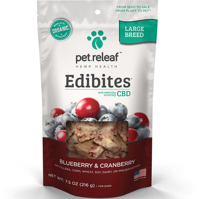 Pet Releaf 'Edibites' Large Breed Blueberry & Cranberry CBD Dog Treat 30 Count