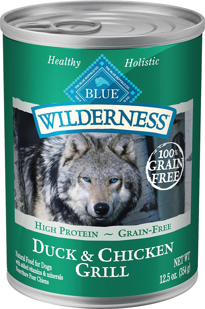 Blue Buffalo Wilderness Duck & Chicken Grill Grain-Free Canned Dog Food 12.5z, 12