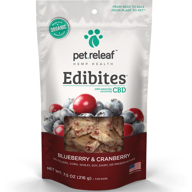 Pet Releaf 'Edibites' Blueberry & Cranberry CBD Dog Treat 30 Count