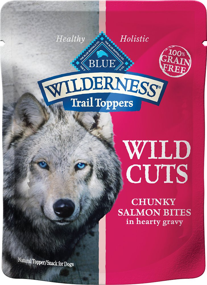 Blue Buffalo Wilderness Trail Toppers Wild Cuts Chunky Salmon Bites in Hearty Gravy Grain-Free Dog Food Topper 3z, 24