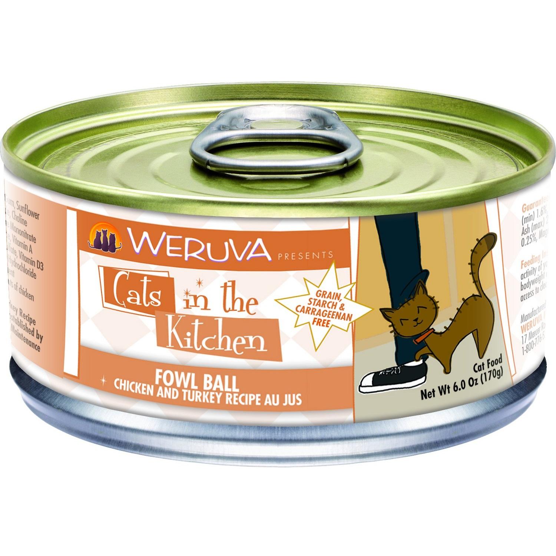 Weruva Cats in the Kitchen Grain-Free Fowl Ball Chicken & Turkey Au Jus Canned Cat Food 6z, 24