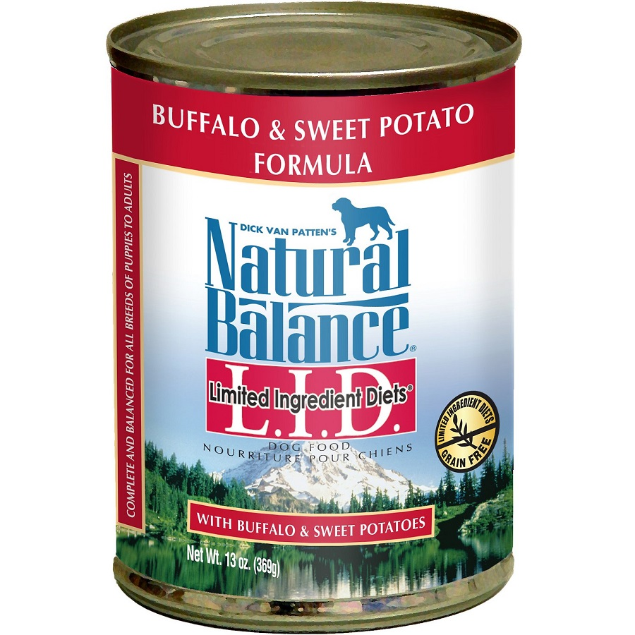 Natural Balance Grain-Free L.I.D. Limited Ingredient Diets Buffalo & Sweet Potatoes Formula Canned Dog Food 13z, 12
