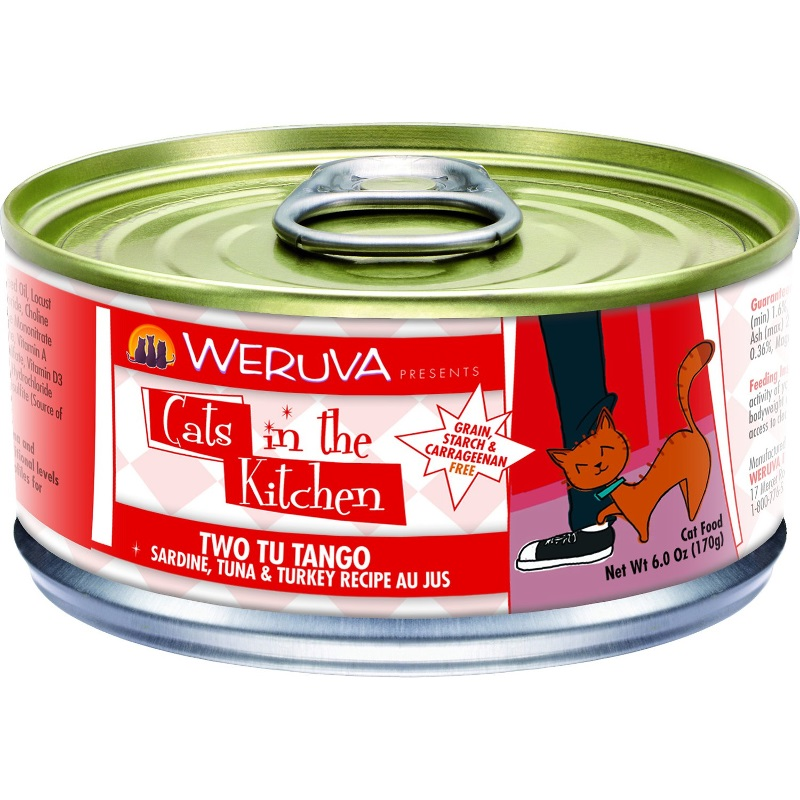 Weruva Cats in the Kitchen 'Two Tu Tango' Sardine, Tuna & Turkey  Au Jus Canned Cat Food 6z, 24