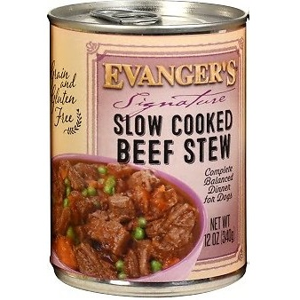 Evanger's Grain-Free Signature Series Slow Cooked Beef Stew Canned Dog Food 12z, 12