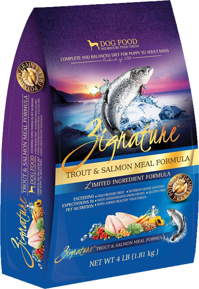 Zignature Grain-Free Trout & Salmon Meal Limited Ingredient Formula Dry Dog Food 4lbs