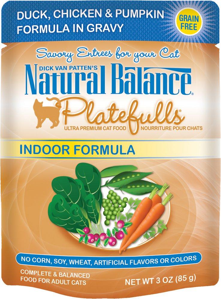 Natural Balance Platefulls Indoor Formula Duck, Chicken & Pumpkin Formula in Gravy Grain-Free Cat Food Pouches 3z, 24