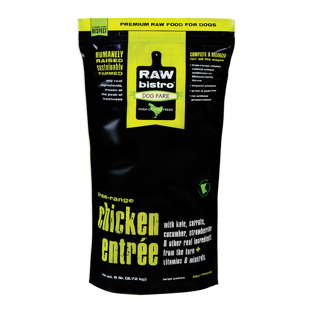 Raw Bistro Free-Range Chicken Entree Grain-Free Raw Frozen Dog Food 3lbs