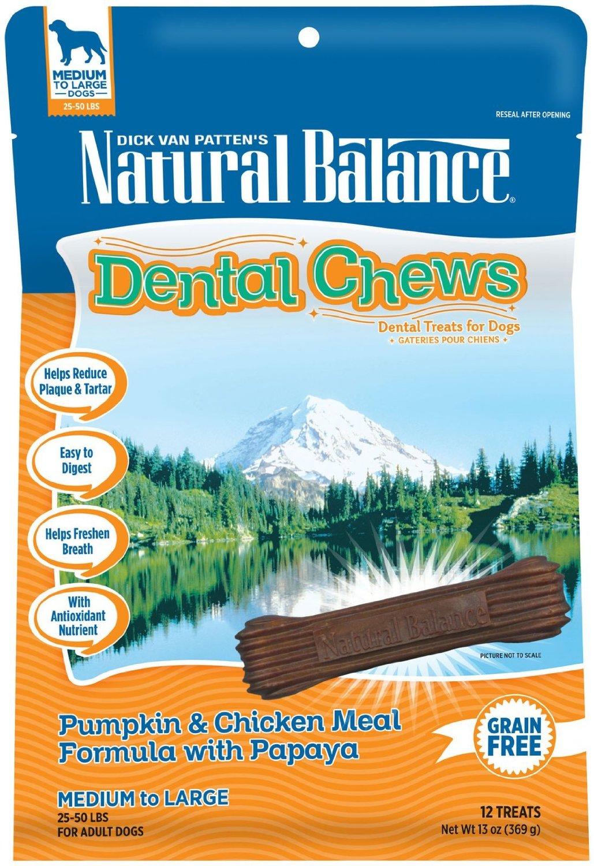 Natural Balance Dental Chews Pumpkin and Chicken Meal with Papaya Dog Treat 13z