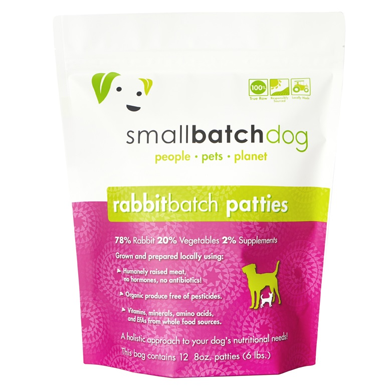 Small Batch 8z Rabbit Patties Raw Frozen Dog Food 6lb