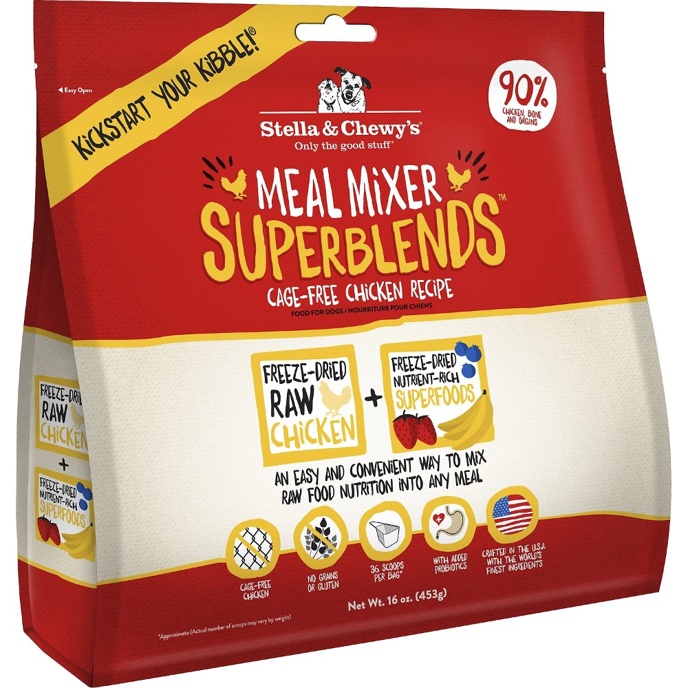 Stella & Chewy's SuperBlends Cage-Free Chicken Meal Mixers Grain-Free Raw Freeze-Dried Dog Food 16z