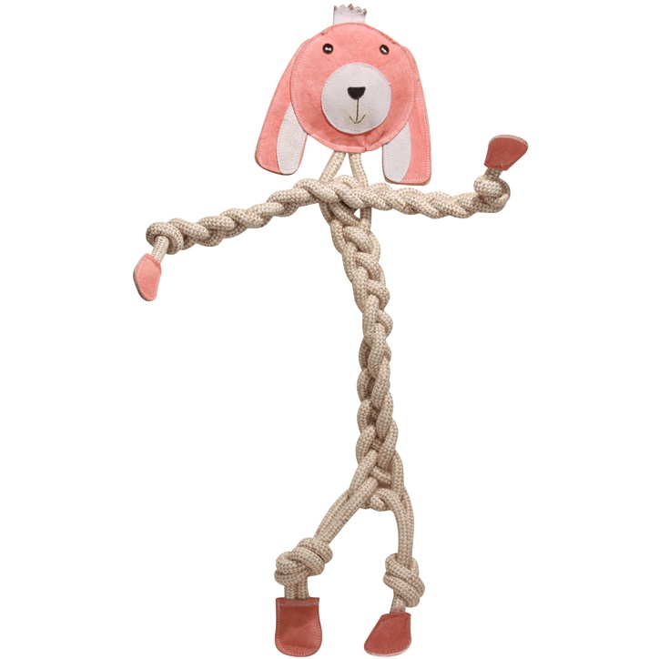 HuggleHounds Rope Knotties Bunny Small Dog Toy