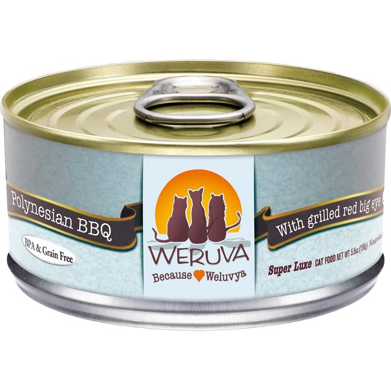 Weruva Grain-Free Polynesian BBQ with Grilled Red Bigeye Canned Cat Food 5.5z, 24