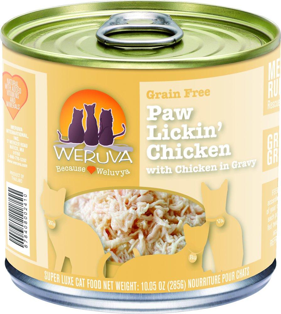 Weruva Grain-Free Paw Lickin' Chicken in Gravy Canned Cat Food 10z, 12