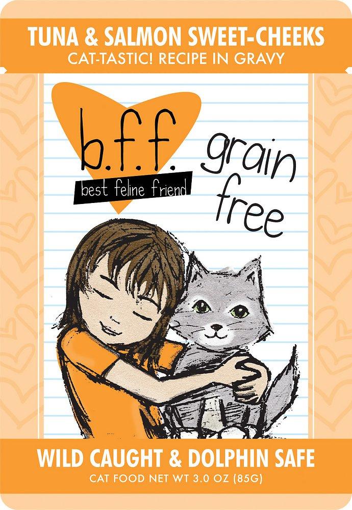 Weruva BFF Grain-Free Tuna & Salmon Sweet Cheeks Recipe in Gravy Cat Food Pouches 3z, 12
