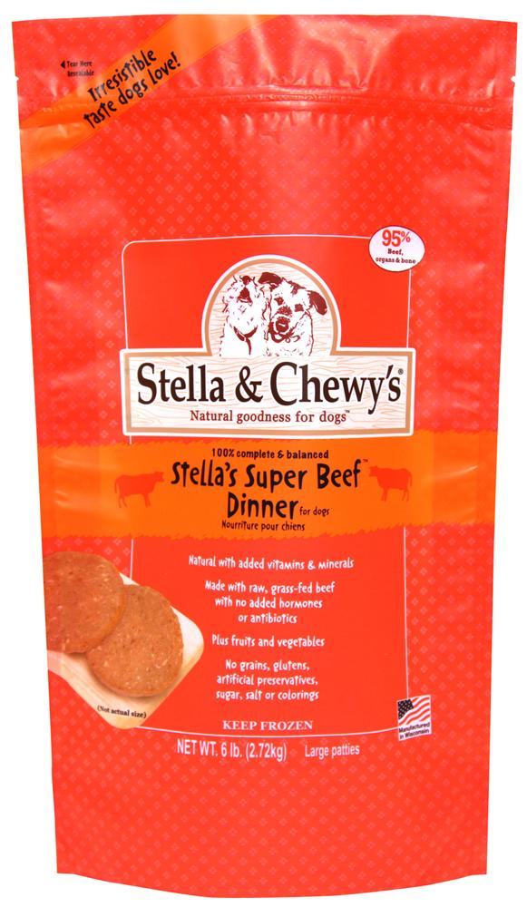 Stella & Chewy's Stella's Super Beef 8z Dinner Patties Grain-Free Raw Frozen Dog Food 6lbs