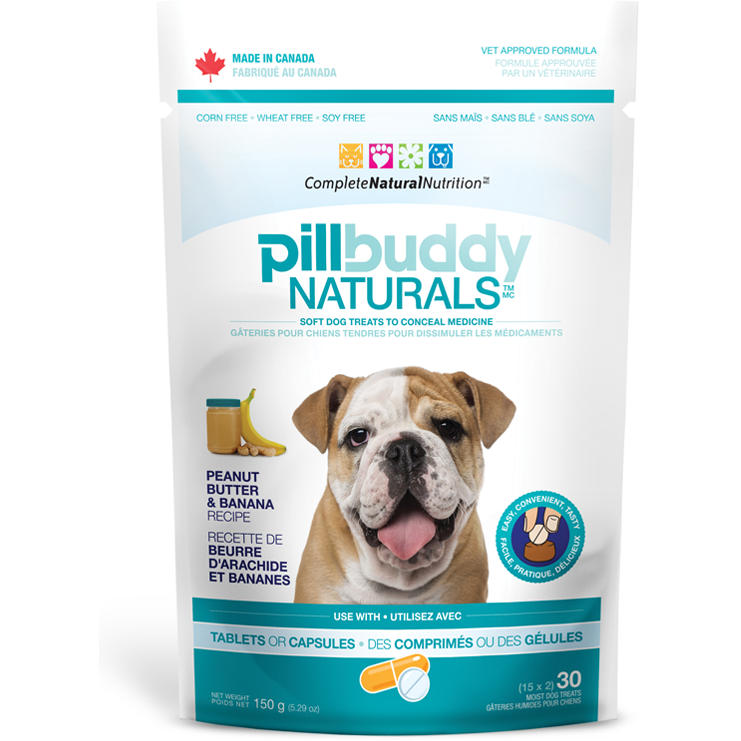 Pill Buddy Naturals - Peanut Butter & Banana Recipe Pill / Capsule Treats for Dogs 150g