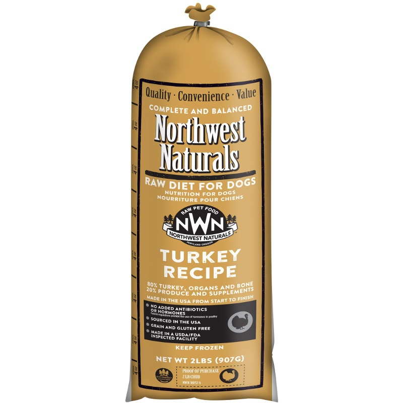 Northwest Naturals Raw Diet Grain-Free Turkey Chub Roll Raw Frozen Dog Food 2lbs