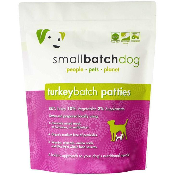 Small Batch 8z Turkey Patties Raw Frozen Dog Food BULK 18lbs, 36 Count