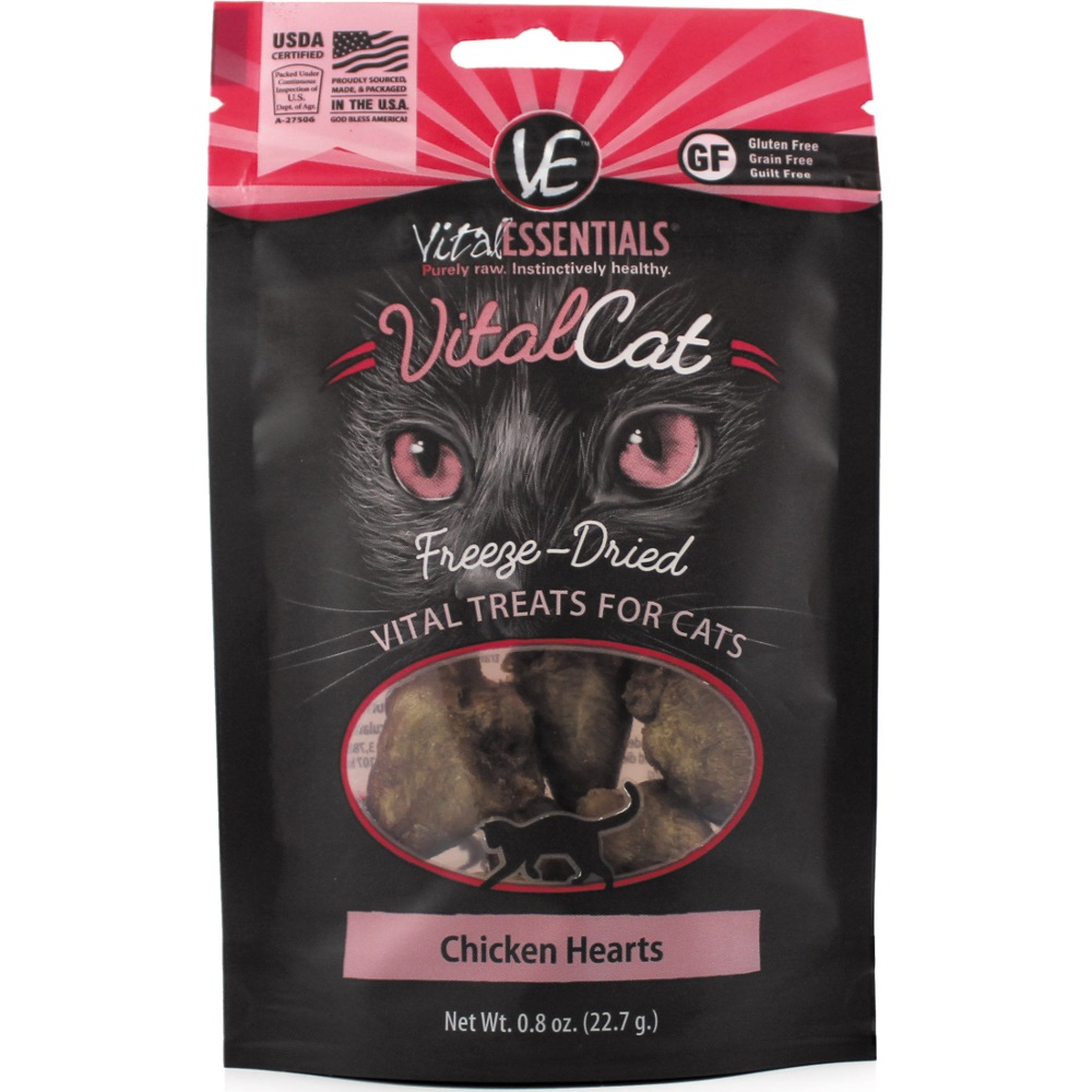 Vital Essentials Vital Cat Chicken Hearts Freeze-Dried Cat Treats 0.8z
