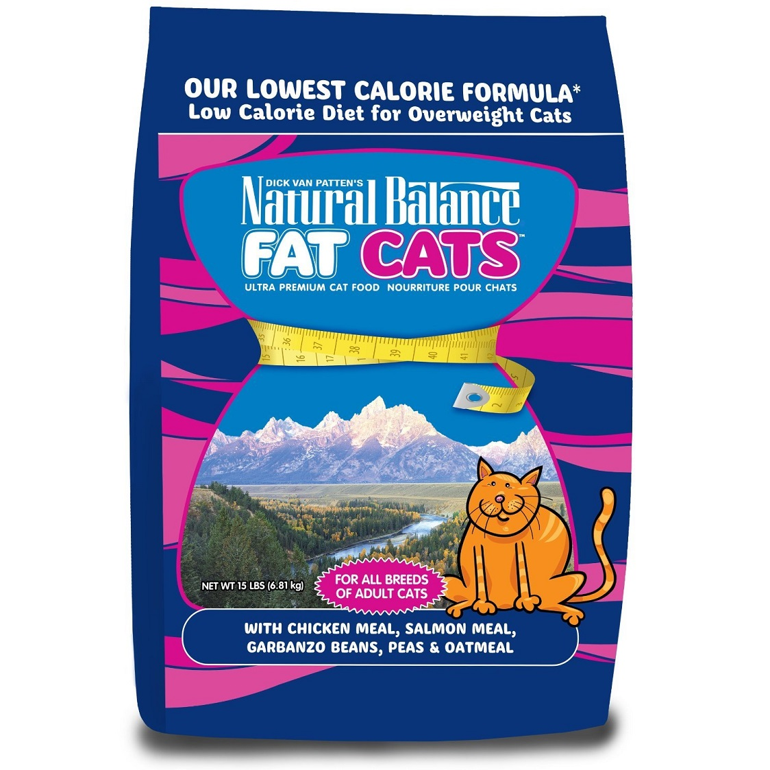 Natural Balance Fat Cats with Chicken Meal, Salmon Meal, Garbanzo Beans, Peas & Oatmeal Dry Cat Food 15lbs