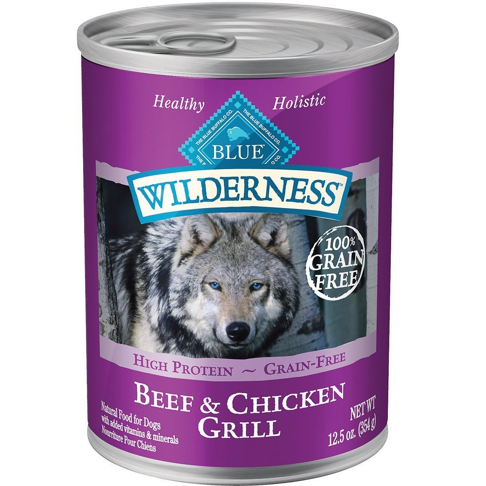 Blue Buffalo Wilderness Beef & Chicken Grill Grain-Free Canned Dog Food 12.5z, 12