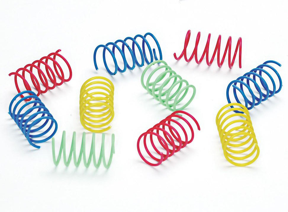 Ethical Pet Wide Durable Heavy Gauge Plastic Colorful Springs Cat Toy 10 Pack