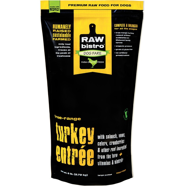 Raw Bistro Free-Range Turkey Entree Grain-Free Raw Frozen Dog Food 6lbs