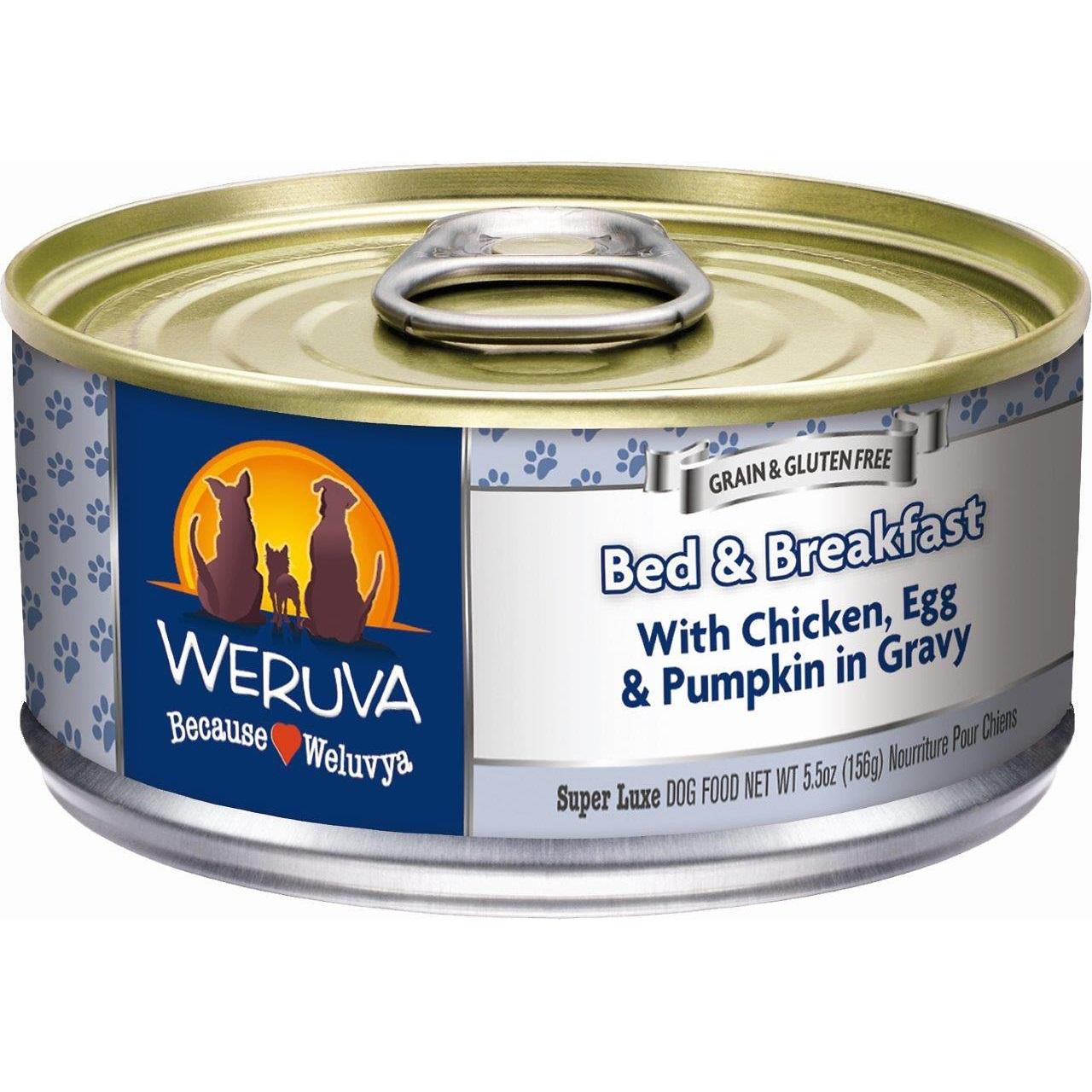 Weruva Bed & Breakfast with Chicken, Egg, & Pumpkin in Gravy Grain-Free Canned Dog Food 5.5z, 24