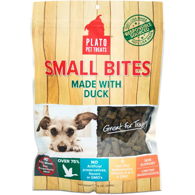 Plato Small Bites Duck Dog Treats 10.5z
