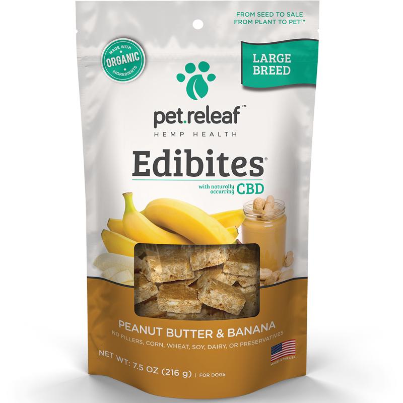 Pet Releaf 'Edibites' Large Breed Peanut Butter & Banana CBD Dog Treat 30 Count