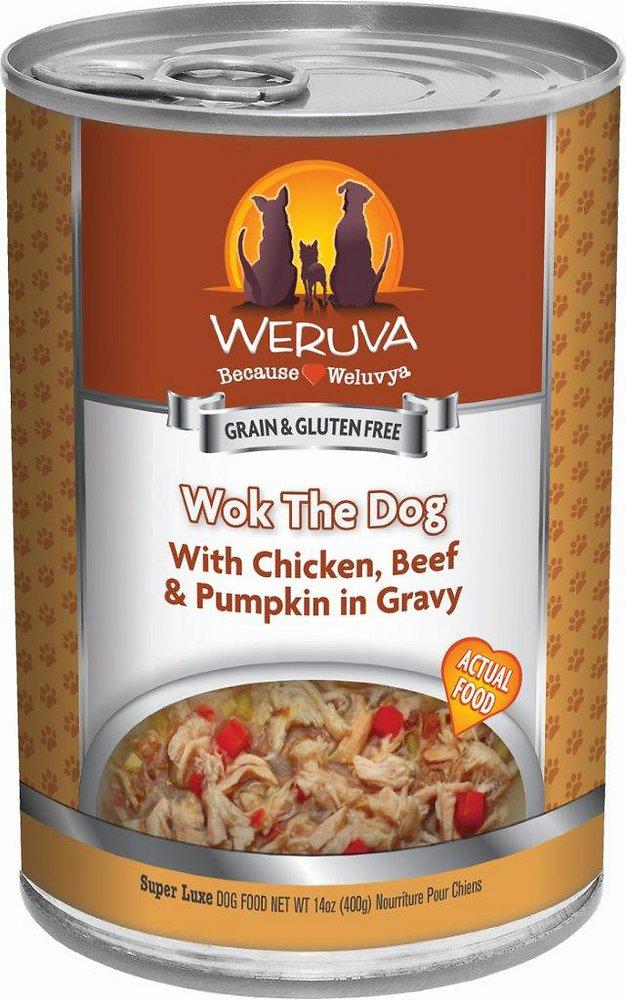 Weruva Wok the Dog with Chicken, Beef & Pumpkin in Gravy Grain-Free Canned Dog Food 14z, 12