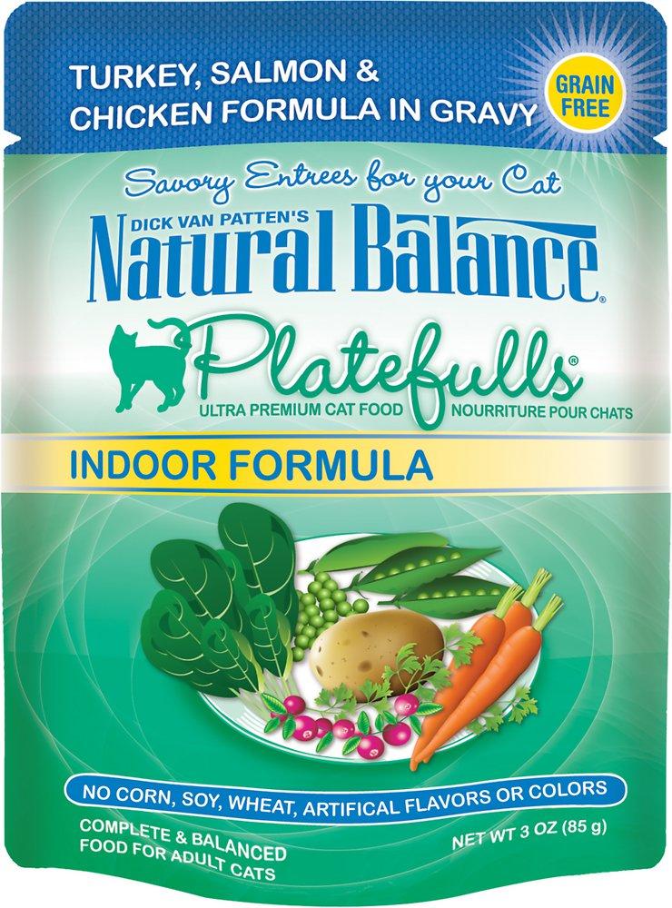 Natural Balance Platefulls Indoor Formula Turkey, Salmon & Chicken in Gravy Grain-Free Cat Food Pouches 3z, 24