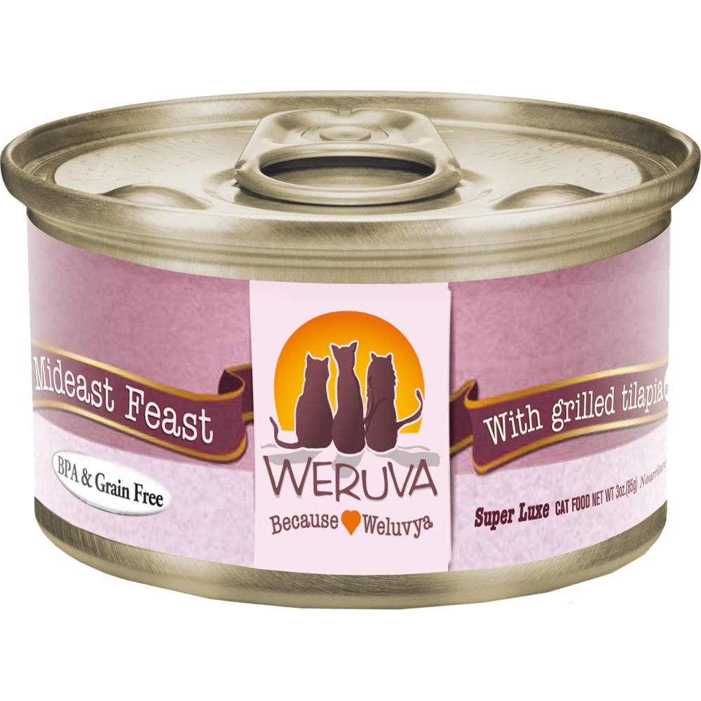 Weruva Grain-Free Mideast Feast with Grilled Tilapia in Gravy Canned Cat Food 3z, 24