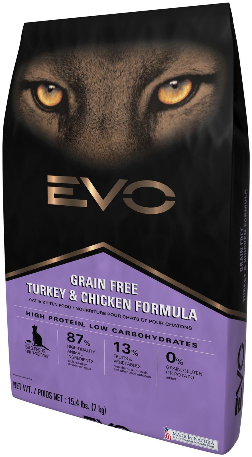 EVO Turkey & Chicken Cat & Kitten Formula Grain-Free Dry Cat Food 15.4lbs