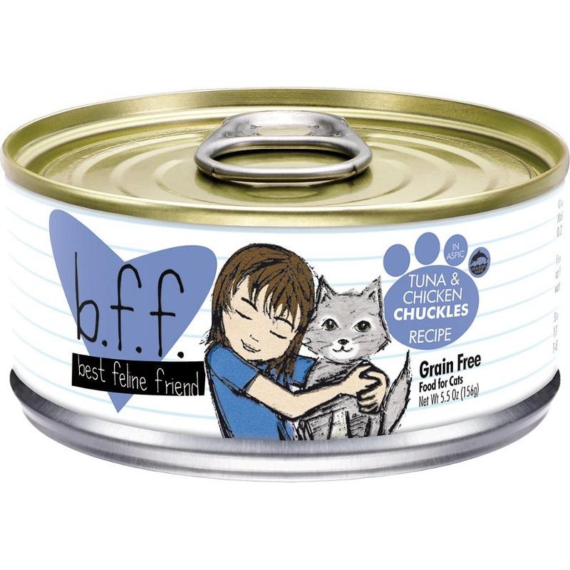 Weruva BFF Grain-Free Tuna & Chicken Chuckles Recipe in Aspic Canned Cat Food 5.5z, 24