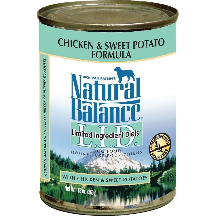 Natural Balance Grain-Free L.I.D. Limited Ingredient Diets Chicken & Sweet Potato Formula Canned Dog Food 13z, 12