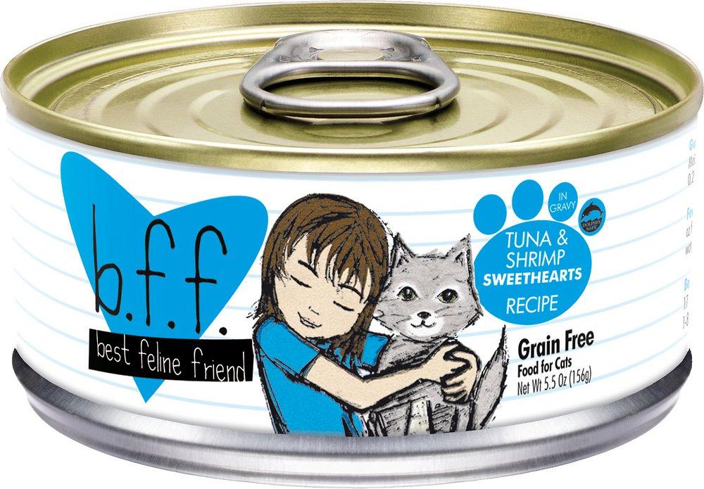 Weruva BFF Grain-Free Tuna & Shrimp Sweethearts Recipe in Gravy Canned Cat Food 5.5z, 24