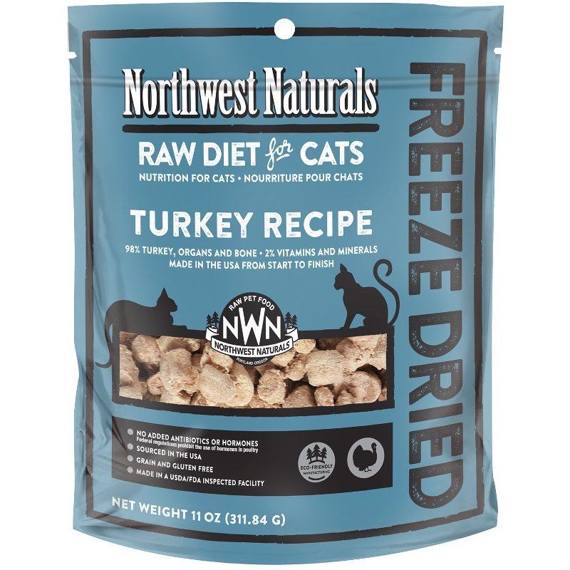 Northwest Naturals Raw Diet Grain-Free Turkey Nibbles Freeze Dried Cat Food 11z