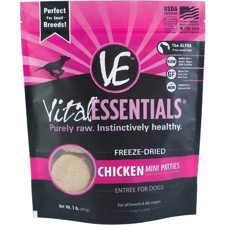 Vital Essentials Chicken Mini Patties Raw Freeze Dried Dog Food 1lbs