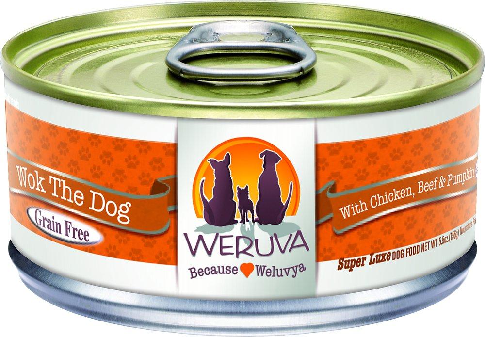 Weruva Wok the Dog with Chicken, Beef & Pumpkin in Gravy Grain-Free Canned Dog Food 5.5z, 24