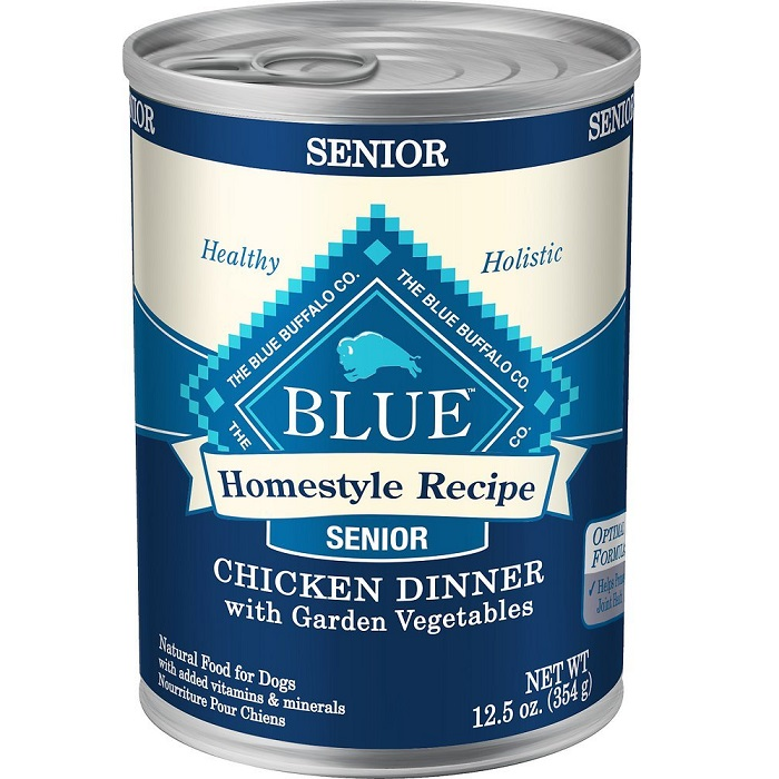 Blue Buffalo Homestyle Recipe Senior Chicken Dinner with Garden Vegetables Canned Dog Food 12.5z, 12
